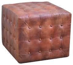 leather on tufted pouf ottoman brown transitional footstools and ottomans by nach
