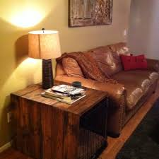cover my furniture. We Built This Side Table To Cover My Dog Crate. 2x6\u0027s With Dark Oak Stain. Furniture