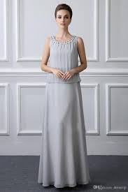 Light Grey Occasion Dress Light Grey Three Pieces Mother Of The Bride Dresses With Long Sleeve Jacket Beads Plus Size Mothers Dress Formal Occasion Gown Formal Dresses For