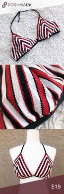 Nautica Striped Chevron Halter Bikini Top Large Red White