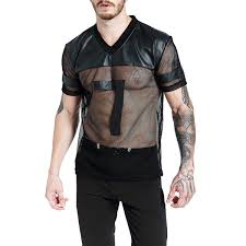 mens y mesh hollow faux leather t shirts casual running sport tops nightclub wear on newchic