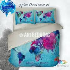 watercolor world map bedding boho chic blue world map duvet cover set paint splashes boho duvet