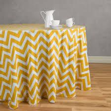 round cotton chevron tablecloth mustard yellow white