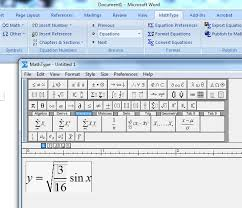 if you have windows 7 math input panel lets you write out equations by hand turns them into typed text and inserts them into doents such as word or