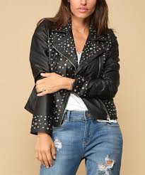 all gone black studded faux leather jacket women