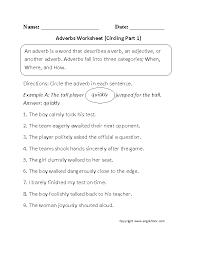 Circling Adverbs Worksheet Part 1 Beginner--free worksheets ...