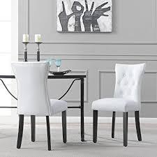 belleze elegant upholstered dining modern chairs w on tufted backrest set of 2