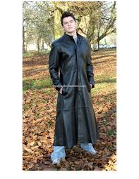 men s matrix style long leather coat