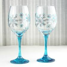 Wine Glass Decorating Designs Hand Painted Wine Glasses Snowflake design Wedding Glasses 6