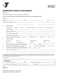Ymca Cancellation Form Fill Online Printable Fillable Blank