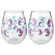 acrylic stemless wine glasses.  Glasses Enesco Designs By Lolita Seahorse Acrylic Stemless Wine Glasses Set Of 2  17 Oz With Glasses I