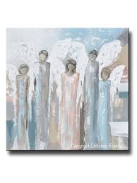 giclee print art angels painting fine art abstract five angels grey white beige blue home wall decor on pink and brown wall art with giclee print abstract angel painting 5 guardian angels decor wall