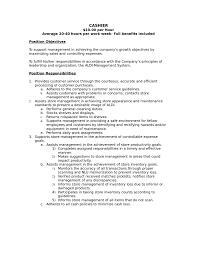 Job Description Cashier Resume Cashier Skills For Resume Job And