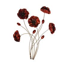on bunch of poppies metal wall art with bouquet of poppies wall art