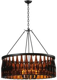 recycled lighting fixtures. Brown Wine Bottle Chandelier With Black Metal Canopy And Rod Recycled Light Fixtures Lighting
