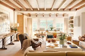 warm light filled living dining room