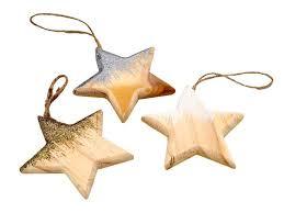 Anhänger Weihnachten Stern Holz Gold Silber Weiß