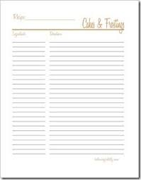 Cakes Frosting Recipe Binders Printable Recipe Cards