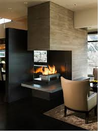 inspiration for a contemporary living room remodel in denver with a two sided fireplace