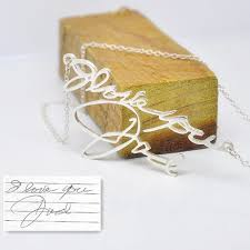 whole personalized handwriting necklace in 925 sterling silver custom name pendent your signature jewelry collar collier