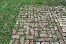 patio pavers with grass in between. Red Brick Patio With Grass Growing Between The Pavers Stock Photo - 65835394 In