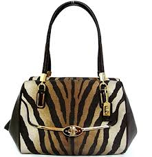 Coach Madison Small Madeline East West Satchel In Zebra Print Fabric