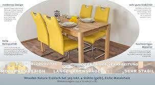 Wooden Nature Esstisch Set 303 Inkl 4 Stühle Gelb Eiche Massivholz 135 X 75 L X B