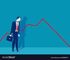 Businessman Standing And Look A Declining Chart