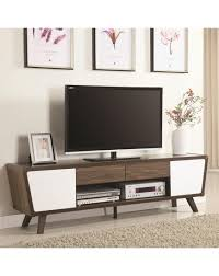 coaster entertainment units two tone mid century modern tv console
