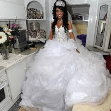 luxury big fat 2016 new sweetheart white organza lace ball gown