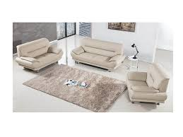 modern 3pcs cream leather sofa loveseat chair