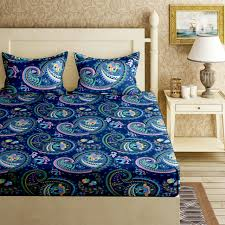 sadhabahar glace cotton super soft printed double bedsheet with 2 pillow covers 90 x 100 inches