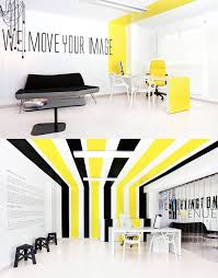 interior contemporary black modern office. Decoration, Gorgeous Yellow Room Decor In Office Space Black Stripes Ideas With Taglines On White Wall Also Contemporary Gray Sofa And Single Interior Modern R