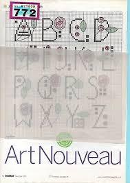 Art Deco Cross Stitch Charts Art Nouveau Alphabet And Numbers Cross Stitch Chart 0 99