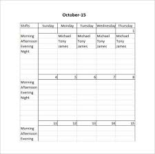 Scheduling Forms Printable Free 15 Restaurant Schedule Templates In Pdf Word Excel