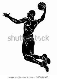 Basketball Drawing Pictures Illustration Basketball Player Black White Drawing Stock Vector