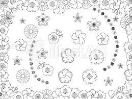 和柄の花白黒イラスト No 571682無料イラストならイラストac