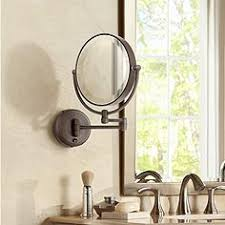 wall mounted magnifying mirror with light. cordless led pivoting 9\ wall mounted magnifying mirror with light