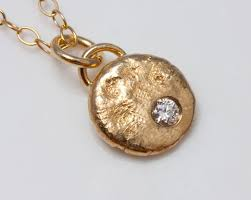 custom made recycled gold nugget necklace with conflict free diamond