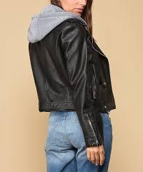 womens black black hooded faux leather jacket alternate image 2