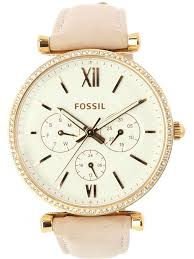 fossil women s es4544 carlie multifunction rose gold tone leather watch 0