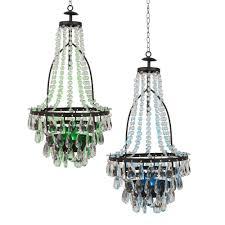 gerson multi color clear outdoor integrated led hanging solar chandelier with acrylic beads 2