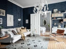 Te Gek Donkerblauw Behang In De Woonkamer Is Een Uitstekend Idee