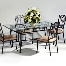 deck wrought iron table. Furniture. Black Iron Rectangle Table With Glass Top Plus Chair  Using Carved Back Deck Wrought Iron Table T