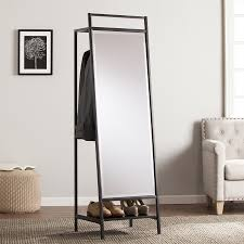 shop boston loft furnishings drappen black beveled floor mirror at