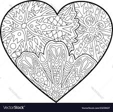 coloring book page with beautiful decorative heart vector image