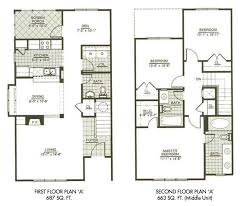 modern town house two story house plans