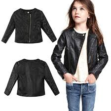 fashion girls pu leather jacket black coat new 2016 baby girl clothes zipper jackets girls spring