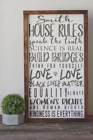 social justice house rules sign family rules wall decor hand painted wood sign modern farmhouse wall art christmas gift 14x24  on house rules wooden wall art with social justice house rules sign family rules wall decor hand