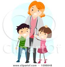 doctor clipart for kids. Fine Doctor Clipart Friendly Female Pediatric Doctor Standing With Two Kids  Vector On For